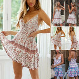 Fashion Women Boho Sexy Chiffion Mini Dress