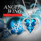 Fashion Women Copper Material Necklace with Colorful Crystal Angel Wings Heart Pendant Necklace for Birthday Party Gift - UNVACANAL