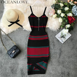 Summer Sexy Dress Vintage Striped Bodycon  Stretch Midi Dress - UNVACANAL