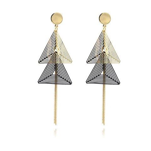 Big Double Triangle Copper Clip on Earrings Without Pierced for Women - UNVACANAL