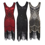 Vintage Gatsby Sequin Fringed Paisley Flapper Dress - UNVACANAL