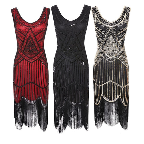 Vintage Gatsby Sequin Fringed Paisley Flapper Dress