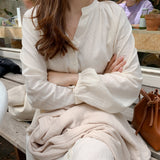 New Autumn Vintage Cotton Linen Long Sleeve Dress - UNVACANAL