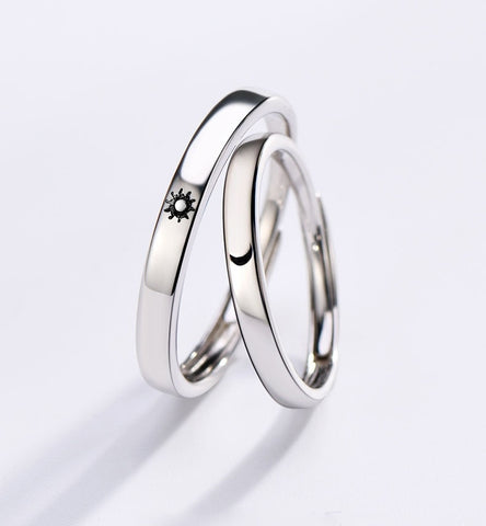 Minimalist Silver Color Sun Moon Adjustable Ring For Men Women Couple Engagement Jewelry - UNVACANAL