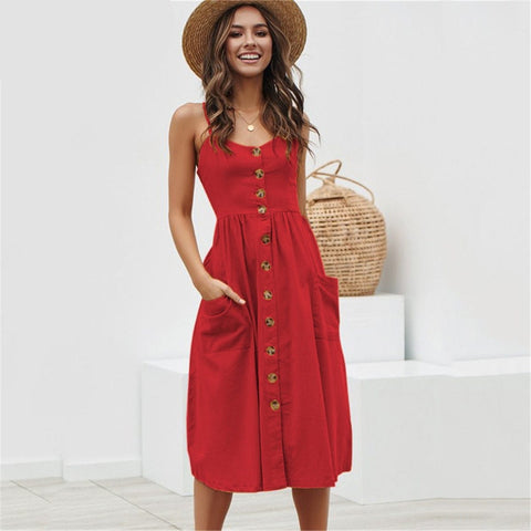 Elegant Button Polka Dots Red Cotton Midi Dress - UNVACANAL