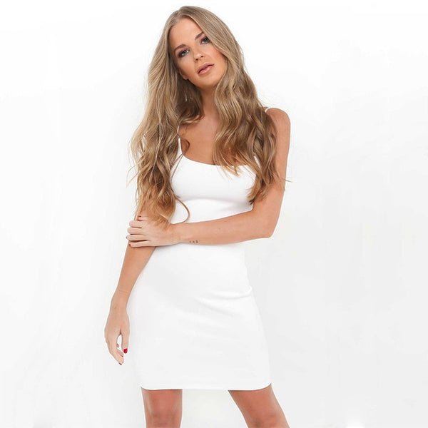 Summer Solid Color Backless Spaghetti Straps Nightclub Dress - UNVACANAL