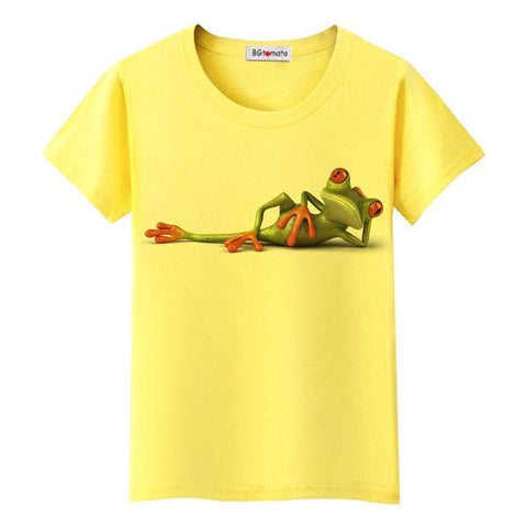 Women originality lovely cartoon 3D shirts Naughty Frog 3D T shirt - UNVACANAL