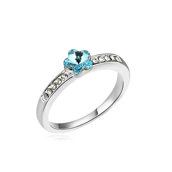 Romantic flower crystal party adjustable ring for women
