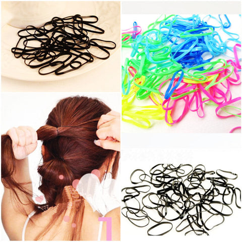 300pcs/pack Rubber Rope Ponytail Holder Elastic Hair Bands