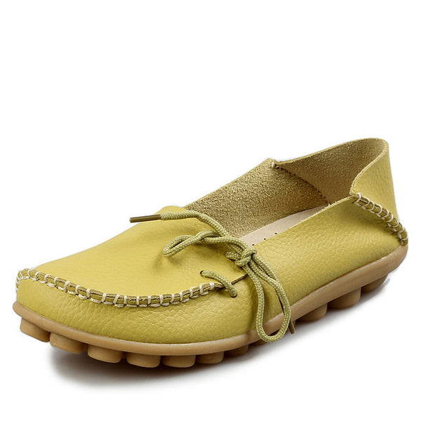 New Women Real Leather Shoes Moccasins Mother Loafers Soft Leisure Flats Female Driving Casual Footwear - UNVACANAL
