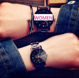 KEVIN New Design Women Watches Fashion Black Round Dial Stainless Steel Band Quartz Wrist Watch Mens Gifts relogios feminino - UNVACANAL