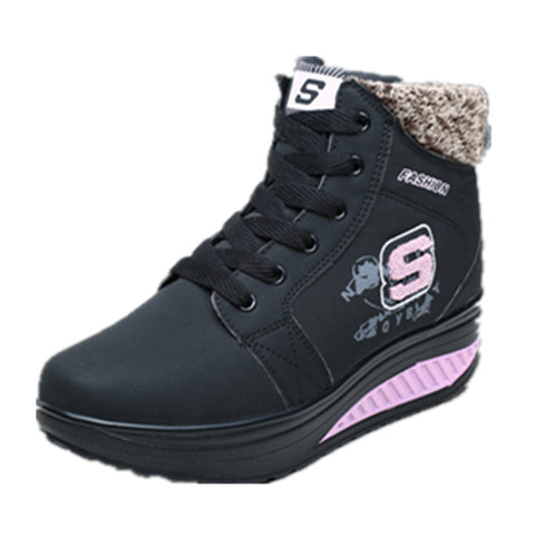 Winter Female Plus Velvet Swing Shoes Snow Platform Boots Wome - UNVACANAL