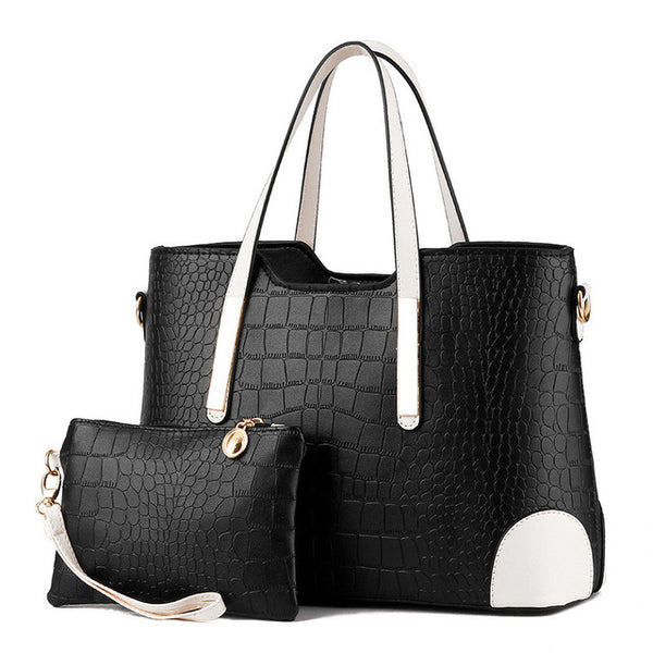 Crocodile Pattern Composite Bag Vintage Women Messenger Bags with Free Purse