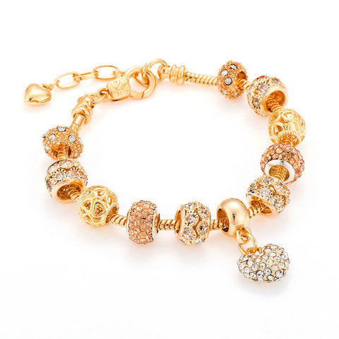 Poshfeel Luxury Crystal Heart Charm Bracelets  For Women