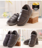 Waterproof women PU leather snow boots warm short plush ankle shoes woman - UNVACANAL
