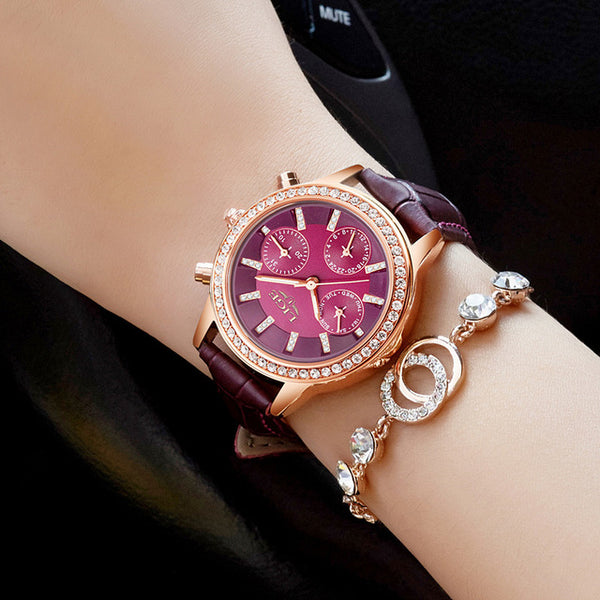 Luxury Brand Girl Quartz Watch Casual Leather Ladies Watches - UNVACANAL