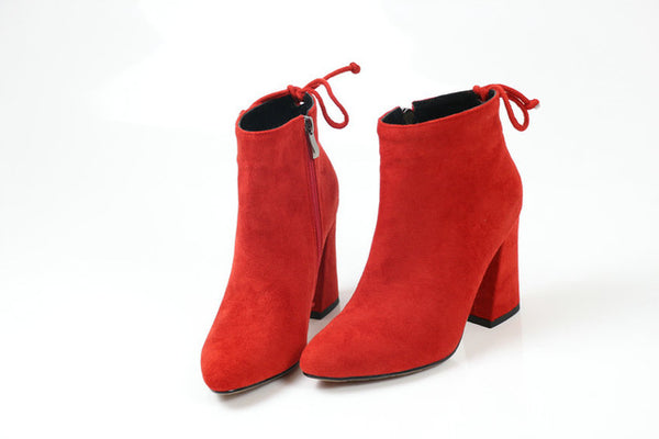 Women Boots Flock Ankle Boots Round Toe Winter Women Boots Ladies - UNVACANAL