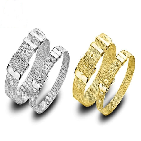 Fashion Gold Silver Color Adjustable Women Men  Bracelet