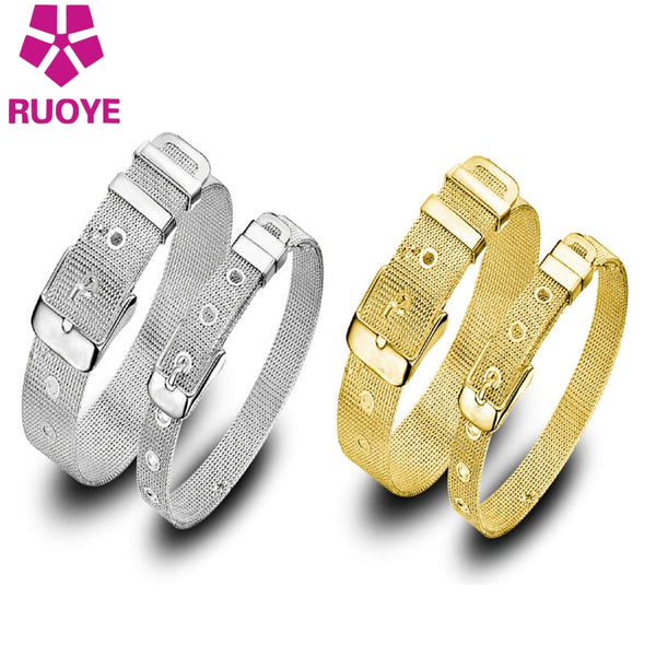 Style Fashion Gold Silver Color Women Men Adjustable Bracelet - UNVACANAL