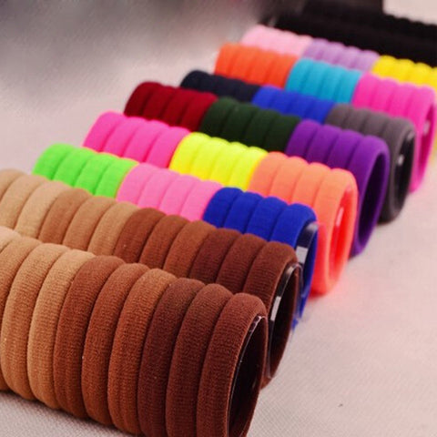 100Pcs Girls Headwear Elastic Hair Bands Ties/Rings Hair Rubber Bands