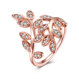 New Arrival Rose Gold Color Cubic Zirconia  Flower Rings For Women - UNVACANAL