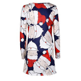 Print Ladies Christmas Long Sleeve Party Dresses - UNVACANAL