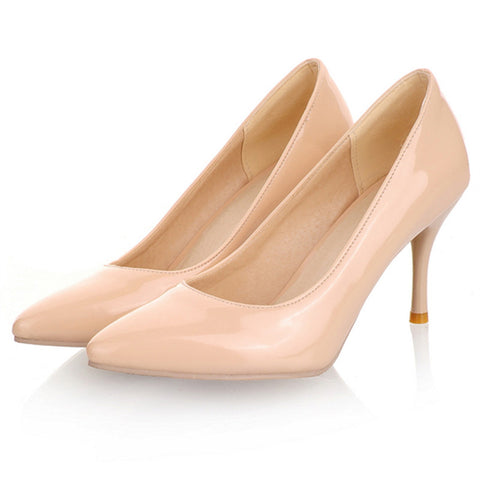 2018 New Fashion high heels women pumps thin heels classic white red nede beige sexy prom wedding shoes - UNVACANAL