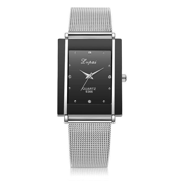 Women's Silver Square Luxury Crystal Alloy Wrist Watches