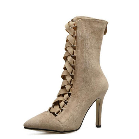 Gladiator High Heels Women Pumps Genova Stiletto Sandal Booties Pointed Toe Strappy Lace Up Pumps Shoes