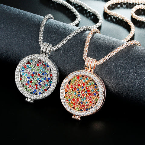 New design Statement Essential Oil rhinestone round Pendant Necklace