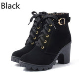 2018 New Autumn Winter Women Boots High Quality Solid Lace-up Leather European Ladies shoes - UNVACANAL