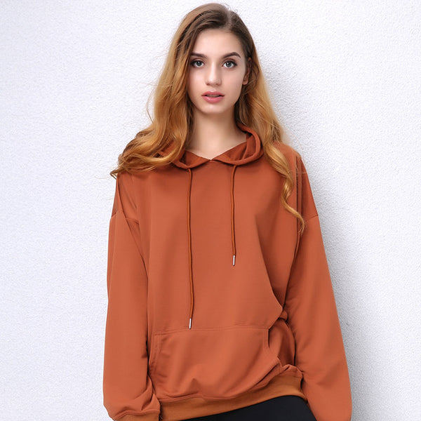 Women Camel hooded Sweatshirt Long Sleeve Pullover Loose - UNVACANAL
