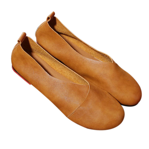 2018 Genuine Leather Flat Shoes Woman Hand-sewn Leather Loafers Cowhide Flexible Spring Casual Shoes - UNVACANAL