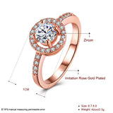 Classic Rose Gold Color Cubic Zirconia  Round Rings For Women - UNVACANAL