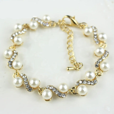 Popular ornaments white imitation pearl bracelets for women