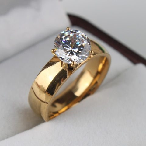 Light Zircon CZ  gold color 316L Stainless Steel finger rings - UNVACANAL