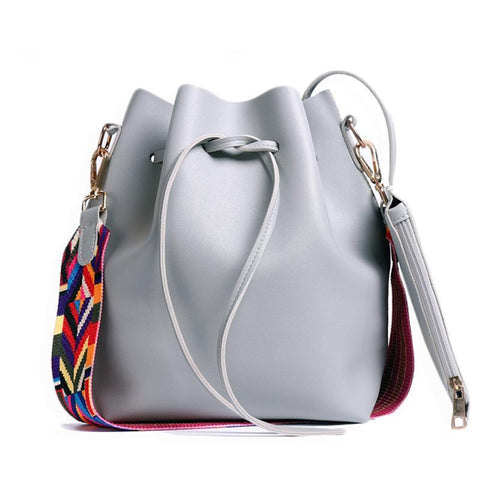 PU Leather with Colorful Strap Bucket Shoulder Bags.