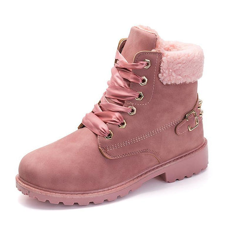 New Pink Women Boots Lace up Solid Casual Ankle Boots Martin Round Toe Women Shoes