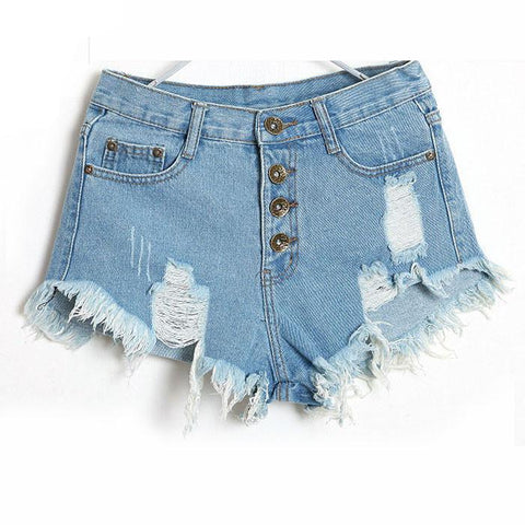 Classic all-match fringe blue short jeans Casual women bottoms