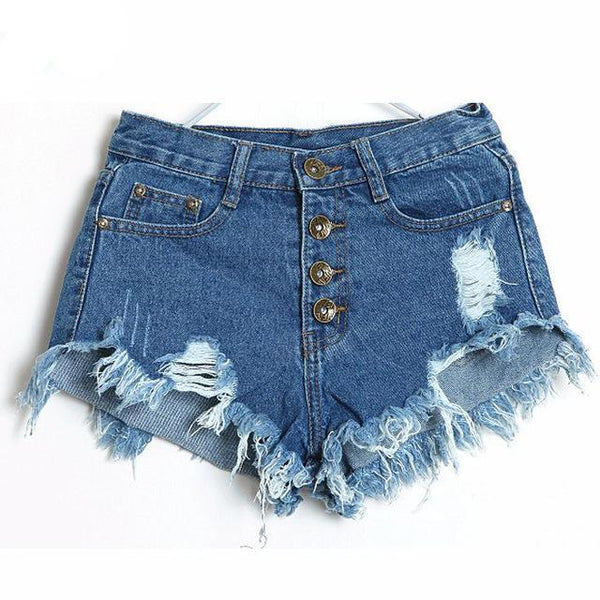 Classic all-match fringe blue short jeans Casual women bottoms - UNVACANAL