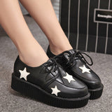 Plus size ladies platform shoes 2018 Women Flats Female shoes laces - UNVACANAL