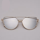Cat eye Sunglasses Women Vintage Metal Reflective Glasses For Women - UNVACANAL