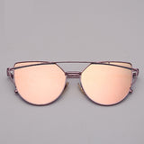 Cat eye Sunglasses Women Vintage Metal Reflective Glasses For Women