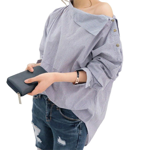 Women Striped Blouses Sexy Skew Collar Batwing Long Sleeve Loose Blue Blouse - UNVACANAL