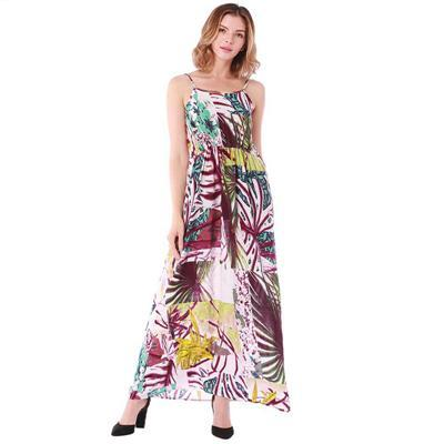 Casual side split elastic abstract floral print dress - UNVACANAL