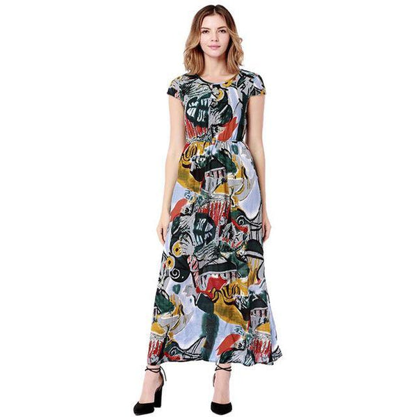 New Casual Ladies Floral Print Maxi Dress