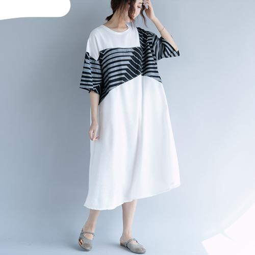 Summer Plus Size Female Casual  Linen Thin Print Striped Spliced dress - UNVACANAL