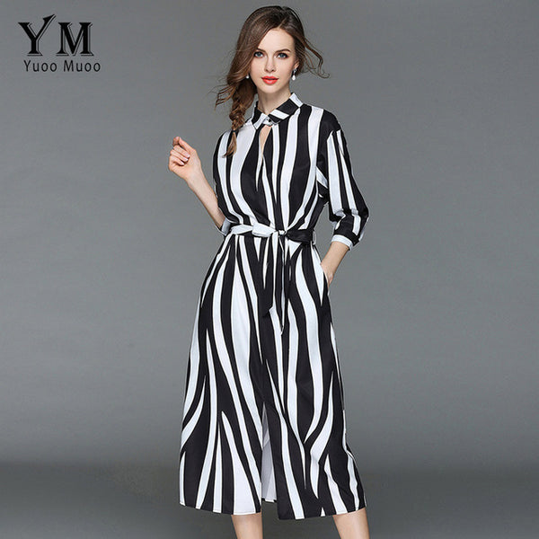 Summer Zebra White and Black Stripe High Street A-Line Shirt Dress - UNVACANAL