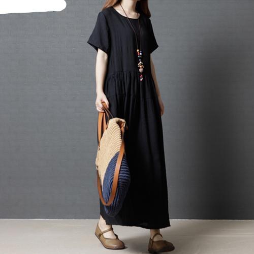 Summer Plus Size Linen Female Lady Elegant Pleated Solid Black Loose Dress