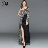 Summer Lace Patchwork Asymmetrical One Shoulder Sleeve Slim Dress
